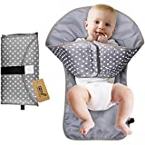 iZiv Portable Clean Hands Changing Pad, 3-in-1 Diaper Clutch, Changing Station, Diaper-Time Playmat with Redirection Barrier for Use with Infants, Babies and Toddlers (Grey)