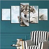 Xueshao フレームワーク現代家の装飾絵画モジュラー5ピース動物ウルフアートキャンバス壁Hd写真用リビングルームポスター-30X40Cmx2 30X60Cmx2 30X80Cmx1