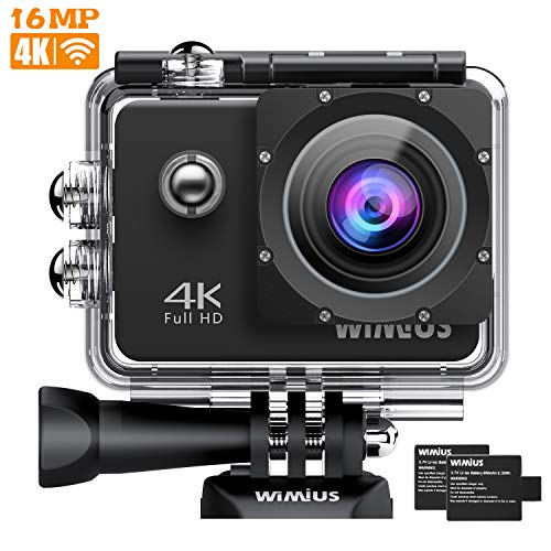 WIMIUS アクションカメラ 2インチ 4K高画質 WiFi搭載 40M防水カメラ 超広角レンズ 豊富な付属品付き ウェアラブルカメラ バイク/自転車/車などに取り付け可能 スポーツカメラ アクションカム
