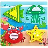 Aimeio ベビーキッズ木製パズルおもちゃ 小さな木製チャンキーパズル 幼児用 カラフルな木製ピース 組み立てブロック 学習教育玩具 3歳以上 IUwj-180709220Y-03
