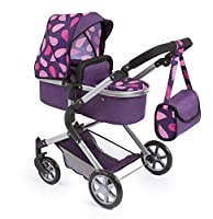 Bayer Design 18146AA Doll's Pram City Neo with Changing Bag and underneath shopping basket, convertable to a pushchair Purple