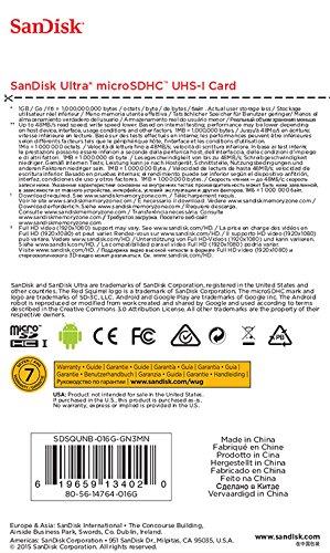 SanDisk サンディスク Ultra microSDHCカード Class10 UHS-1対応 R:48MB/s 海外リテール SDSQUNB-016G-GN3MN SanDisk