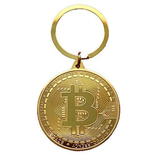 ZooooM ビット コイン デザイン レプリカ メダル キーホルダー キーチェーン Bit Coin BTC 仮想 通貨 ( ゴールド ) ZM-KEY3105-GD