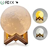 8CM Moon Lamp Moonlight Lamp 3D LED Night Light Magical Dimmable Touch Sensor Mood Light ,Tatuer, USB Printing With Wooden Birthday Gift