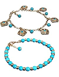 Tinksky Boho Rhinestone Flower Beads Turquoise Foot Chain Anklet Bracelet gift for women, pack of 2