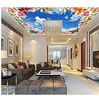 Wuyyii 3Dの壁紙カスタム壁画の不織3D空間の壁紙美しい空のバラの蝶の装飾のフレスコ画の壁紙3Dの壁紙
