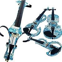Aliyes 4/4フルサイズソリッドウッドエレクトリックチェロ、ビオロンチェリーバッグ、ボウ、ロジン、補助ケーブル、イヤホン、余分な弦セット(ホワイト&ブルーの花)(ALDSDT-1201)