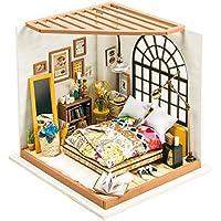 Yamix 3D パズル 木製 ハンドメイド ミニチュア ドールハウス DIYキット ミニドリーム 寝室 LEDライト付き 女性や女の子へのギフトに最適