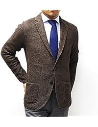 (ラルディーニ)LARDINI鹿の子織り ニットジャケット【ブラウン×ベージュ】EELJM19 EE50012 420BE [並行輸入品]