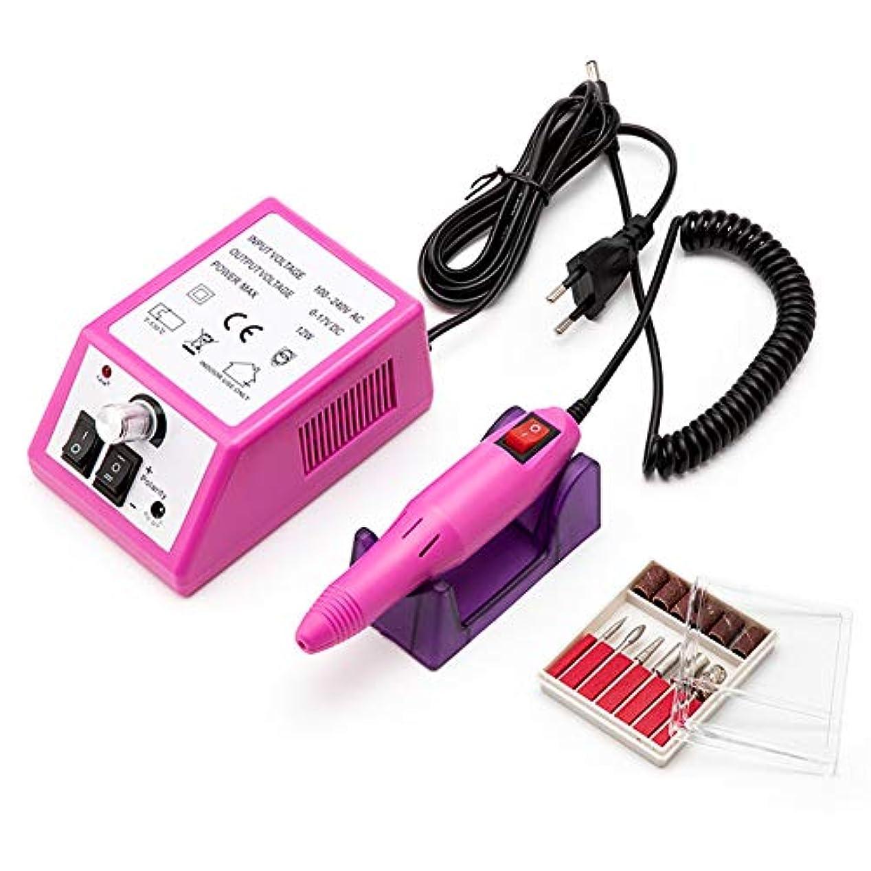 バック悪行鍔電動ネイルドリル35000 RPMマニキュアセットファイルグレーネイルペンマシンセットダイヤモンドペディキュアネイルファイルドリル100-240Vマニキュア用器具器具,ピンク