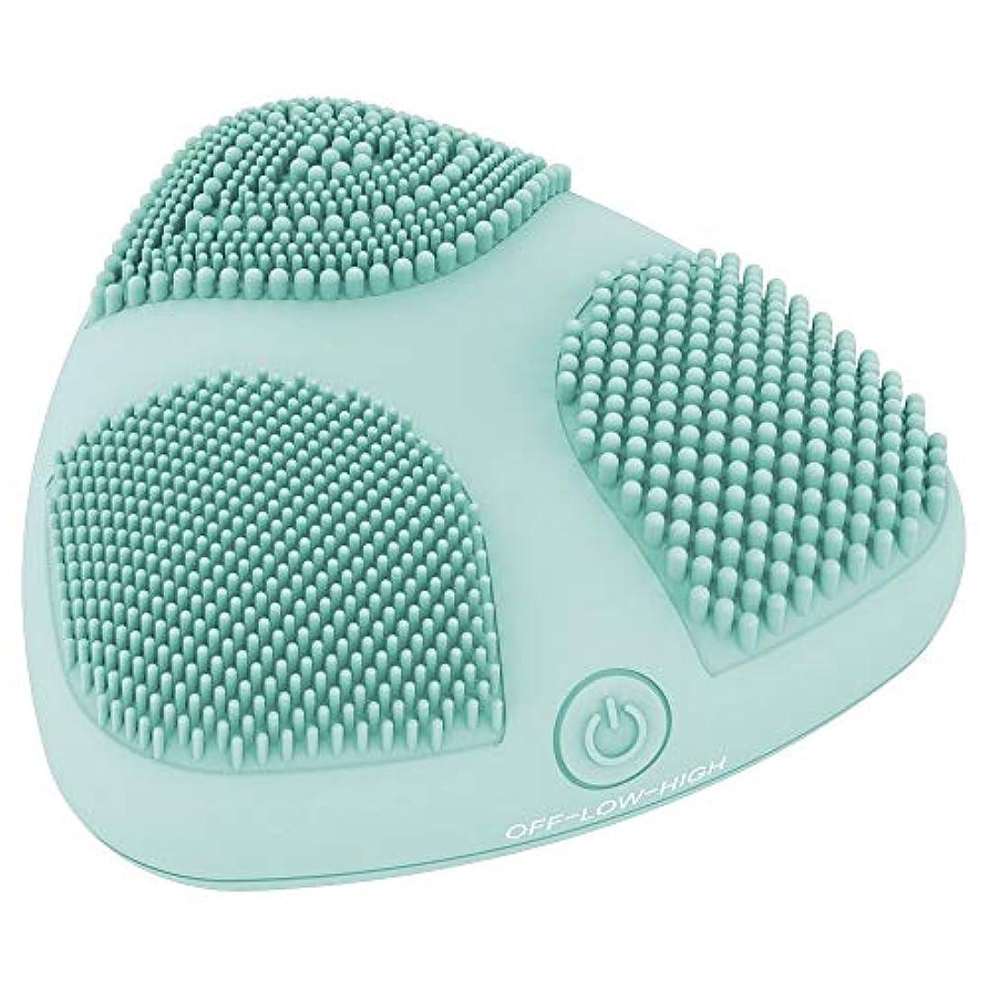 動詞水曜日ラメ電池式の3つのブラシゾーンが付いているシリコーンの顔の清潔になるブラシ