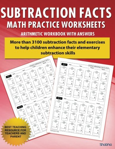Download Subtraction Facts Math Practice Worksheet Arithmetic Workbook With Answers: Daily Practice guide for elementary students and other kids (Elementary Subtraction Series) 1536961558