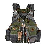 (Green) - Lixada Fly Fishing Vest,Fishing Safety Life Jacket Breathable Polyester Mesh Design Fishing Vest for Swimming Sailing Boating Kayak Floating(Foam/Without Foam Optional)