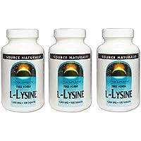 3本セット L-リジン 1000mg 100タブレット 1本 フリーフォームアミノ酸  (海外直送品)