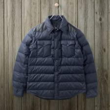 Rocky Mountain Featherbed Leather Yoke Down Shirt: Navy / Black