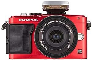 OLYMPUS ミラーレス一眼 PEN E-PL6 14-42mm EZレンズキット レッド E-PL6 EZ LKIT RED