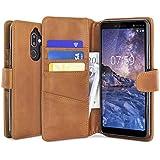 Nokia 7 Plus Genuine Leather Wallet Case - Cognac