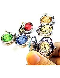 ZooooM 5個 セット ダイヤモンド デザイン 蓋 カバー 付き 指 輪 時計 リング ウォッチ サイズ フリー ( カラー ランダム ) ZM-WATCH3351