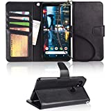 Google pixel 2 Case, Arae [Wrist Strap] Flip Folio [Kickstand Feature] PU leather wallet case with ID&Credit Card Pockets For Google pixel 2 - black