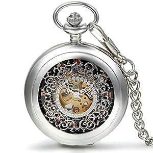 JewelryWe ウッド懐中時計 アンティーク風 手巻き式 ネックレス 時計,ペンダント ウォッチ ポケットウォッチ,透かし彫り ローマ数字,合金,バレンタイン プレゼント
