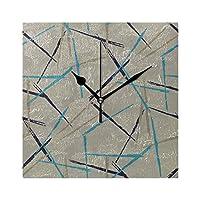 KWESG 掛け時計 すてきなストライプチェック柄 置き時計 ウォールクロック 連続秒針 静音 四角 正方形 立体 アクリル おしゃれ 見やすい 軽量 壁飾り 部屋 テーブル装飾 寝室 オフィス 子供室