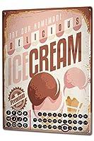 カレンダー Perpetual Calendar Retro Ice Cream Tin Metal Magnetic