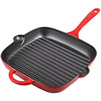 デンビー キャスト 鉄 鉄板 鍋 、 10 インチ、 赤