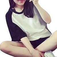 レディース Tシャツ YOKINO ファッション トップス 半袖 着痩せ スリム 春 夏 無地 シンプル カジュアル 重ね着 普段着 日常 森ガール Tシャツ カットソー (L, ブラック)