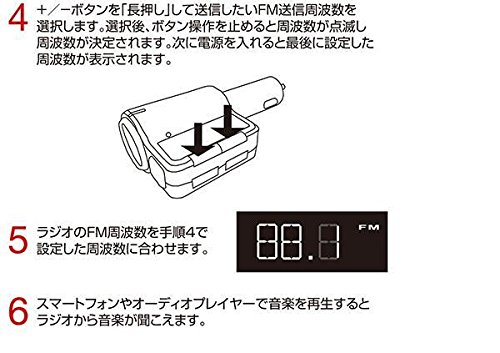 フォースメディア BLuetooth シガーソケット搭載 ワイヤレスFMトランスミッター JF-BTFM23KC(1コ入)