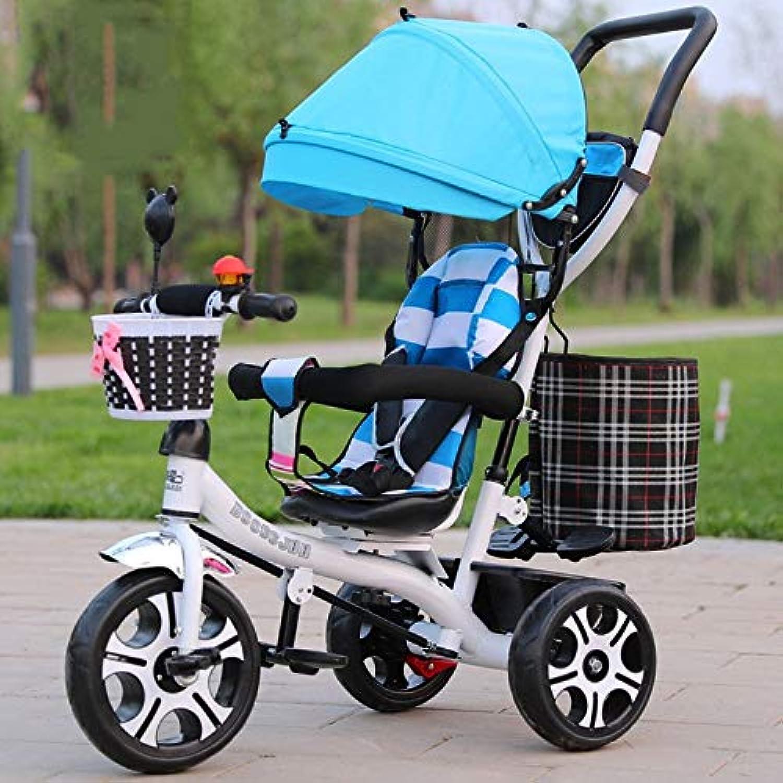 子供の三輪車 子供の三輪車スイベルシート1-3-5歳ベビーカーバイクベビーカーバイク付きオーニング 三輪車 おりたたみ 持ち運び (色 : C)