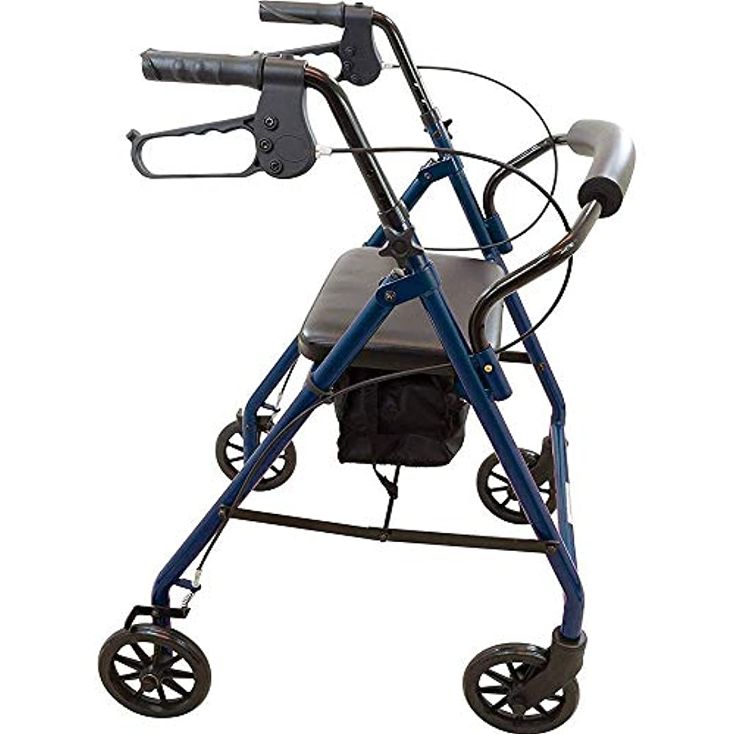バイオリニストバケツ計算可能良質の標準的な歩行者、座席、背もたれおよび高齢者のための収納ポーチ歩行器歩行者が付いている4つの車輪の歩行者耐久財の鋼鉄フレームは136kgまで、青を支えます