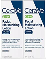 CeraVe Facial Moisturizing Lotion PM | 3 Ounce (Pack of 2) | Ultra Lightweight, Night Face Moisturizer | Fragr