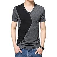 Tシャツ メンズ Vネック 半袖 配色切替 ボタン 快適 カジュアル おしゃれ