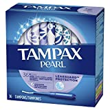 Tampax Pearl Plastic Tampons, Light Absorbency, Unscented, 36 Count - Pack of 2 (72 Total Count) (Packaging May Vary)