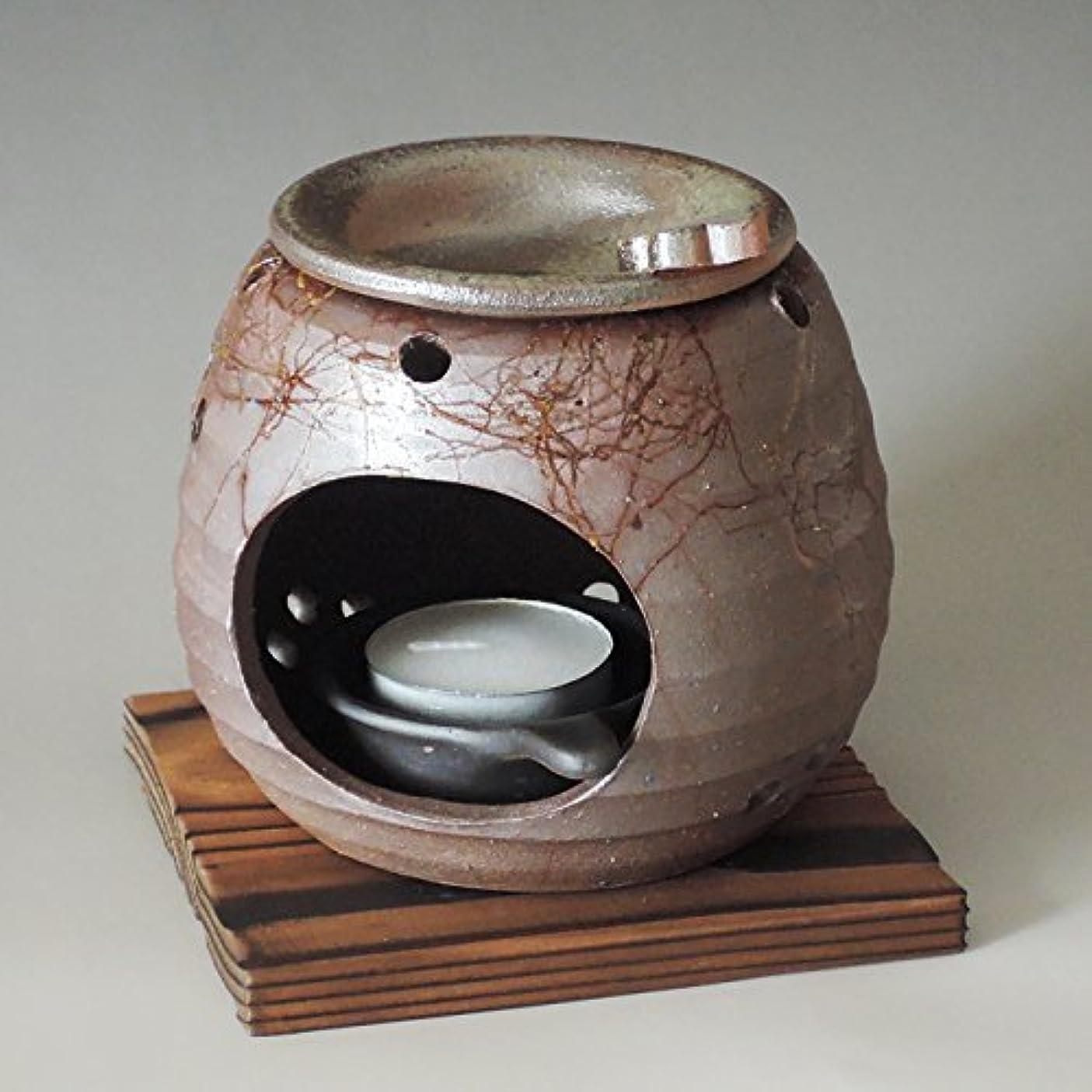 穀物広く余韻茶香炉 常滑焼 石龍作「藻掛け」川本屋茶舗