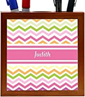 Rikki Knight Judith Pink Chevron Name Design 5-Inch Wooden Tile Pen Holder (RK-PH7201) [並行輸入品]