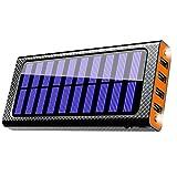 モバイルバッテリー24000mAh 大容量 ソーラーチャージャー 二個LEDランプ 四つ出力ポート 三つ入力ポート