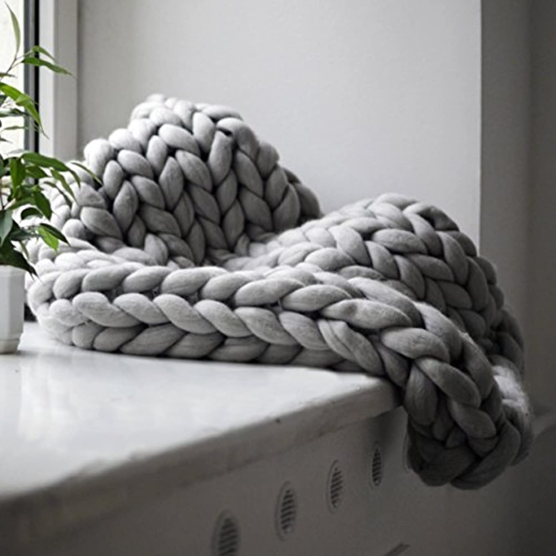 直立続編もっと少なくSaikogoods 快適な暖かいソフト太いラインジャイアント糸ニットブランケット手作りマニュアルウィービング写真小道具毛布をキープ グレー 100×120cm