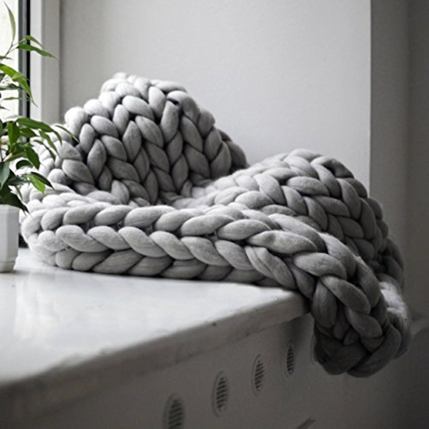 独裁単独で隠されたSaikogoods 快適な暖かいソフト太いラインジャイアント糸ニットブランケット手作りマニュアルウィービング写真小道具毛布をキープ グレー 100×120cm