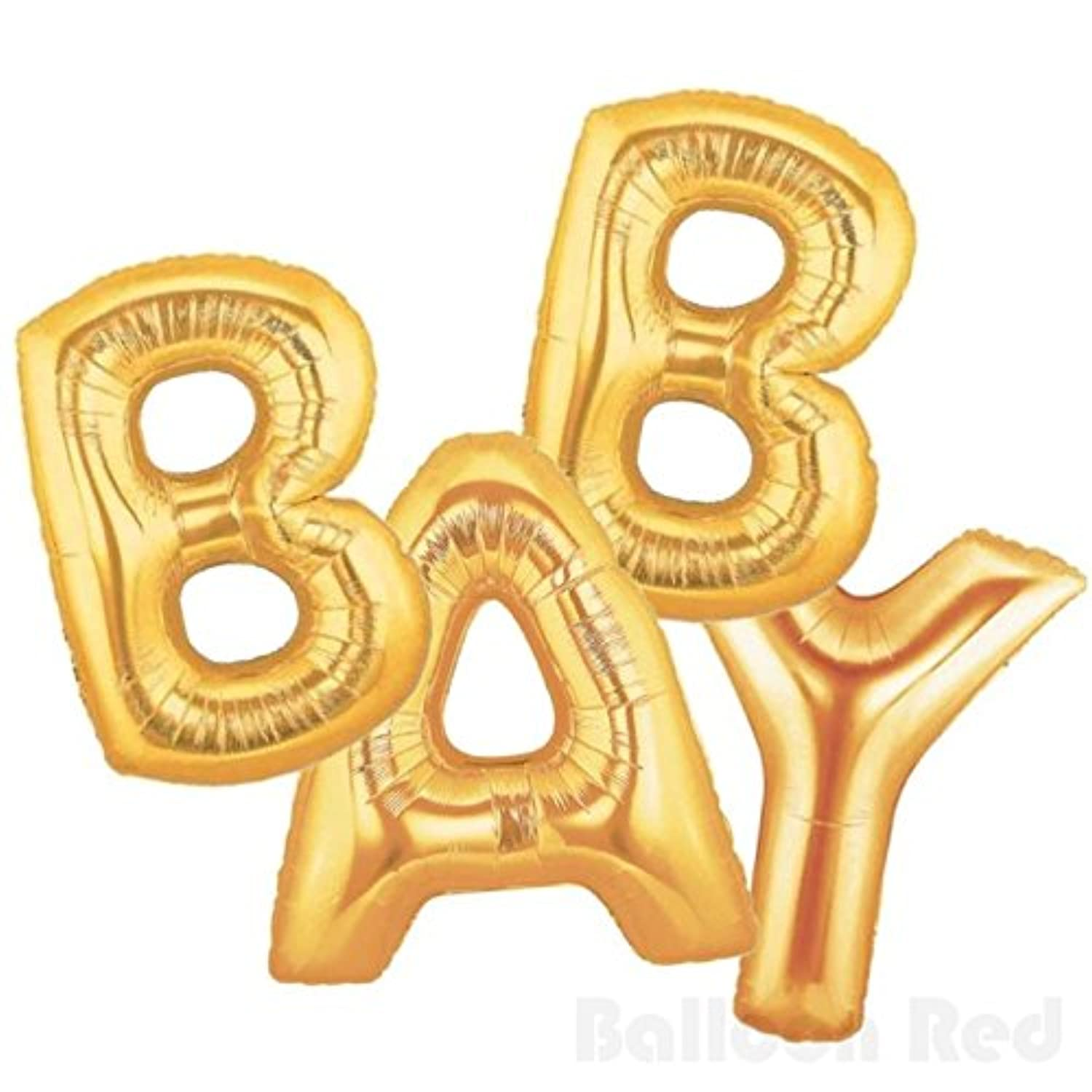 41cm Foil Mylar Balloons Bouquet for Wall Decoration (Premium Quality, Air-Fill Only), Matte Gold, Letters BABY
