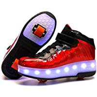 Kids USB Charging Sport Sneakers Roller Skate Shoes Led Light Up Double Wheel Shoes,Red,37