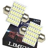 (ライミー)LIMEY 業界初! 爆光 最新 T10×28mm LED ホワイト 白 30連 ルームランプ 驚きの明るさ 6500K 12V車専用 2個入り 【取扱説明書&保証書付き】-T10W30R28