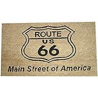 秋月貿易 屋外用ドアマット Route 66 Natural W70×D40×H1.4cm Coir Doormat レクト CR-4063R