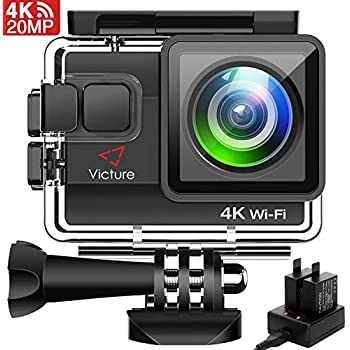 Victure 4K アクションカメラ WiFi搭載 2000万画素 UHD 40M 防水カメラ 2個1050mAh電池 充電器付き タイムラプス動画 手振れ補正 170度広角 レンズ画角調節可能 HDMI出力 複数アクセサリー バイク/自転車/車に取り付け可能 スキーカメラ