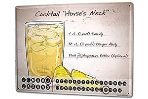 カレンダー Perpetual Calendar Nostalgic Alcohol Retro Horse's neck Tin Metal Magnetic