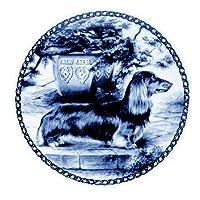 デンマーク製 ドッグ・プレート (犬の絵皿) 直輸入! Dachshund Miniature-Longhaired / ミニチュア・ダックスフント - ロングヘア