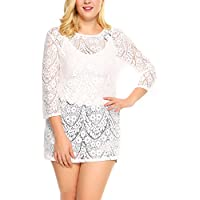 IN'VOLAND Women Plus Size Lace Floral Beach Blouse Bikini Swimsuit Cover up Tops
