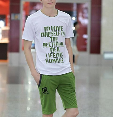 (クリエイト) ルーム ウエア メンズ  上下セット ジャージ 半袖 tシャツ (グリーンL)