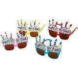 ShanTrip ハッピーバースデー サングラス 4色セット Happy Birthday お誕生日会 バースデーパーティー