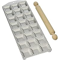 Eppicotispai 24-Hole Aluminum Square Ravioli Maker with Rolling Pin by Eppicotispai